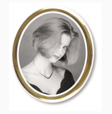 CERAMIC OVAL PHOTO WITH GOLD RIM BLACK AND WHITE