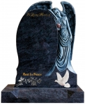 ANGEL GRAVESTONE DOVE AND ROSE BUNCH
