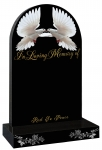 dove headstone and roses etched